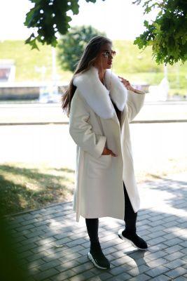 Baltos sp. vilnos ir kašmyro paltas su ilga lapės kailio apykakle