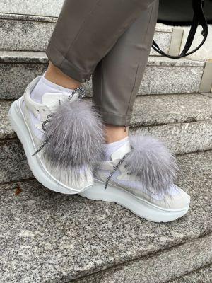Batų aksesuaras iš lapės kailio juodsidabrės