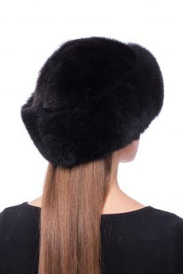 Audinės kailio kepurė su lapės kailio apvadu Klasika, juoda