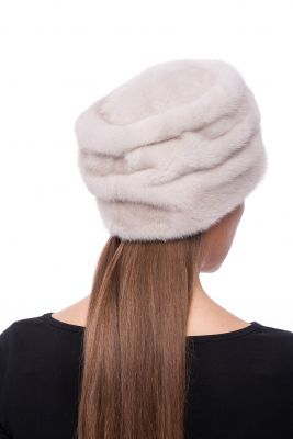 Audinės kailio kepurė Mažas cilindras, balta