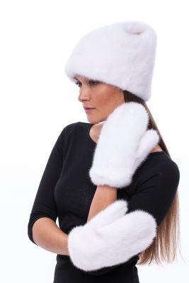 Audinės kailio kepurė Katinėlis, balta