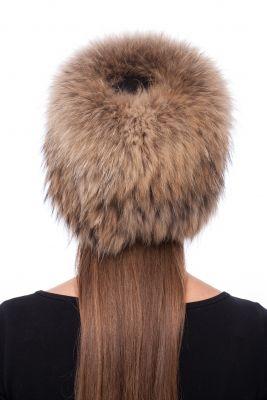 Megzta usūrinio šuns kailio kepurė Cilindras, natūrali