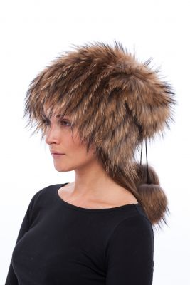Megzta lapės kailio kepurė Pinokis, natūrali