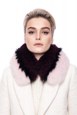 Lapės kailio šalikėlis  bordo/rožinis 18x70