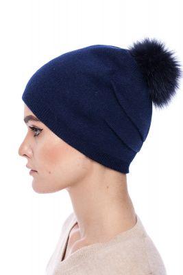 Megzta kašmyro ir vilnos kepurė su bumbulu mėlyna