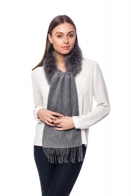 Kašmyro ir vilnos šalikėlis su lapės kailio dekoru, pilkas