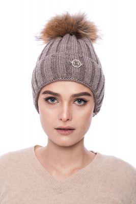 Megzta vilnonė kepurė su bumbulu ruda