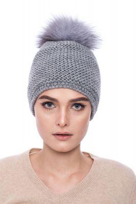 Megzta vilnonė kepurė su bumbulu pilka