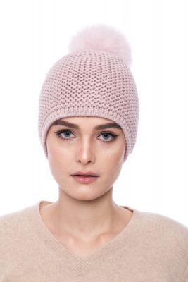Megzta vilnonė kepurė su bumbulu rožinė