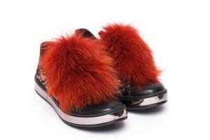 Batų aksesuaras iš lapės kailio oranžinis