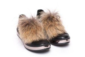 Batų aksesuaras iš usūrinio šuns kailio