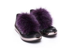 Batų aksesuaras iš lapės kailio violetinis