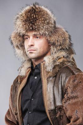 Bebro kailio ausinė kepurė, ruda