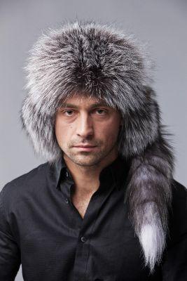 Bebro kailio ausinė kepurė juoda/juodsidabrė
