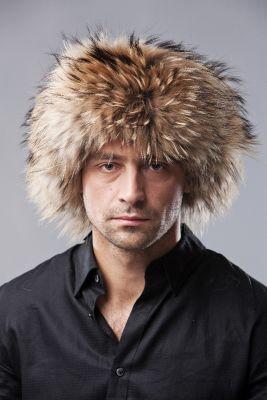 Usūrinio šuns kailio kepurė su oda, natūrali