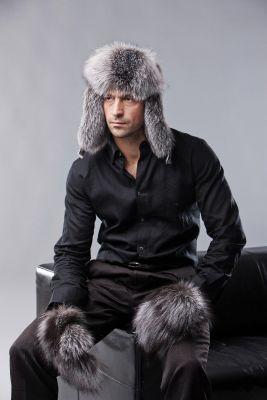 Lapės kailio ausinė kepurė, juodsidabrė