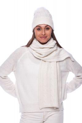 100% kašmyro kepurės ir šaliko komplektas baltas