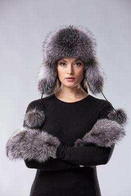Ausinė kepurė, lapės kailio, natūrali juodsidabrės