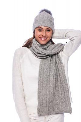 100% kašmyro kepurės ir šaliko komplektas pilkas