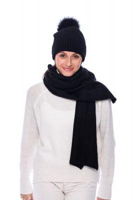 100% kašmyro kepurės ir šaliko komplektas juodas