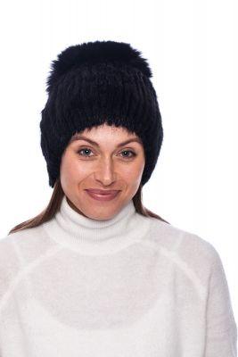 Megzta audinės kailio kepurė plačiu bumbulu juoda/juoda (didesnis dydis)