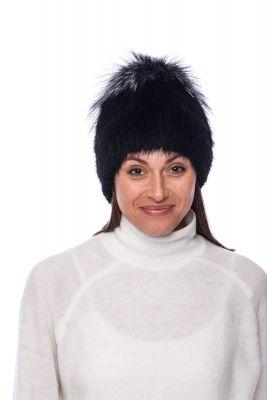 Megzta audinės kailio kepurė plačiu bumbulu, juoda/juodsidabrė (didesnis dydis)