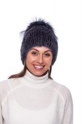 Megzta audinės kailio kepurė plačiu bumbulu mėlyna/mėlyna (didesnis dydis)