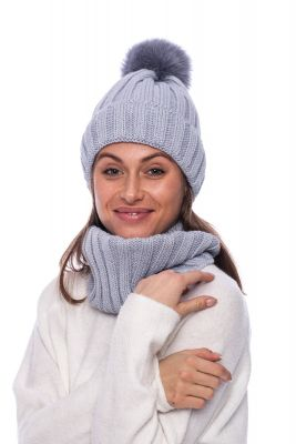 Megztas vilnos movos ir kepurės komplektas pilkas
