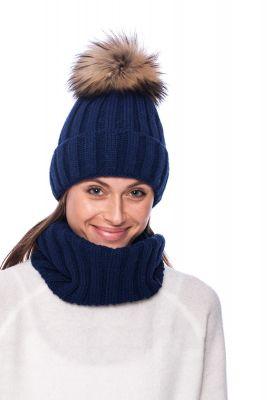 Megztas vilnos movos ir kepurės komplektas mėlynas