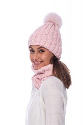 Megztas vilnos movos ir kepurės komplektas rožinis