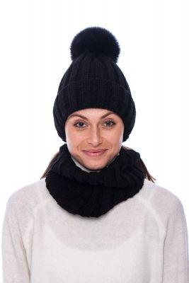 Megztas vilnos movos ir kepurės komplektas  juodas