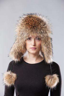 Ausinė kepurė, usūrinio kailio, natūralios spalvos