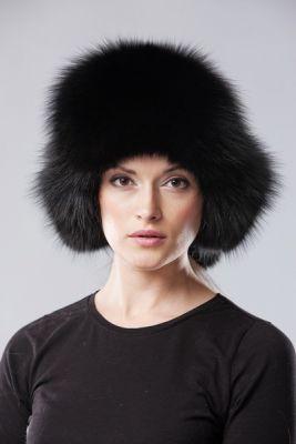 Ausinė kepurė, lapės kailio, juoda