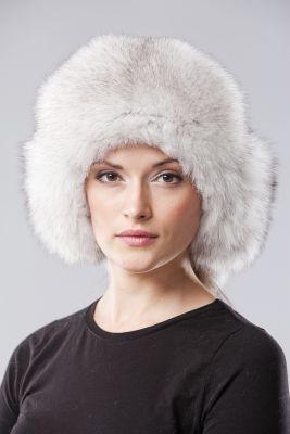 Ausinė kepurė, lapės kailio, natūrali balta