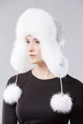 Ausinė kepurė, lapės kailio, balta