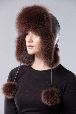Ausinė kepurė, lapės kailio, ruda