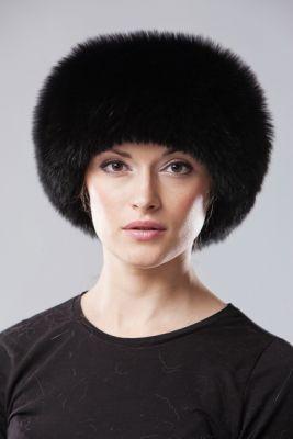 Kepurė Klasika, lapės kailio, juoda