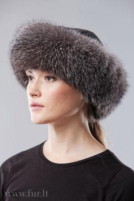 Kepurė Klasika, lapės kailio, juodsidabrė