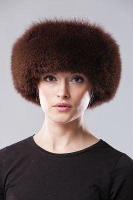 Kepurė Klasika, lapės kailio, ruda