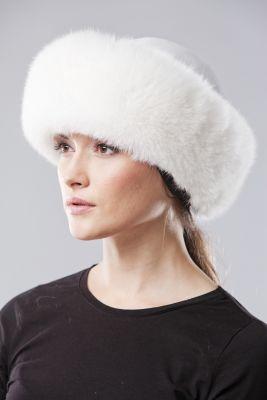 Kepurė Klasika, lapės kailio, balta