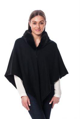 Kašmyro šalikėlis su audinės kailio dekoru, juodas