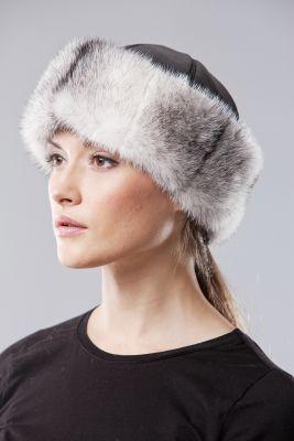 Audinės kailio kepurė Klasika, juodai balta 009