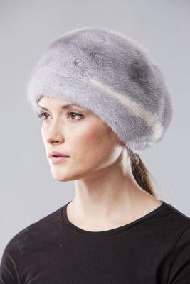 Audinės kailio beretė, safir