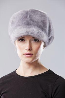Audinės kailio beretė su snapeliu, natūrali pilka