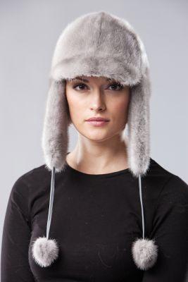 Audinės kailio ausinė kepurė su snapeliu, safir