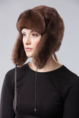Audinės kailio ausinė kepurė, natūrali ruda