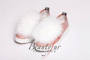 Batų aksesuaras iš lapės kailio baltas
