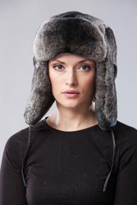 Rekso kailio ausinė kepurė, pilka