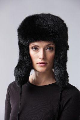 Triušio kailio ausinė kepurė, juoda
