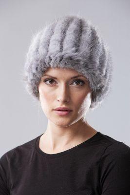 Megzta audinės kailio kepurė Turbanas pilka